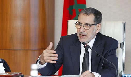 Le Chef du gouvernement Saad Dine El Otmani,  préside la  réunion du Comité interministériel chargé de la sécurité routière,  tenue en marge de la commémoration de la Journée nationale de la sécurité routière, prévue le 18 février. 1422020-Rabat
